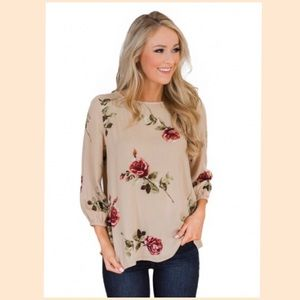 Tops - 🎉HP🎉 RESTOCKED🌹Apricot Button-up Floral Blouse!